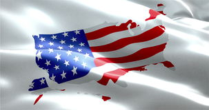 Closeup of american USA waving flag on united states of america map, stars and stripes. United states of america stock video