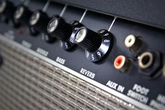 Closeup of amplifier controls Royalty Free Stock Photography