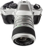 Closeup of an analog camera. Silver. view from the top front Royalty Free Stock Photography