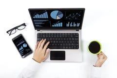 Closeup of analyzing business chart Stock Photo