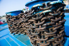 Closeup of anchor chain. Thick anchor chain on nautical background royalty free stock image