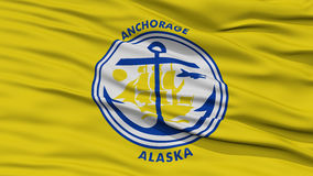 Closeup of Anchorage City Flag. Waving in the Wind, Alaska State, United States of America Royalty Free Stock Photo