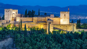 Closeup Ancient arabic fortress of Alhambra at sunset. Granada, Spain.Cl Stock Photo