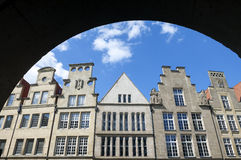 Closeup ancient buildings, Münster, Germany. Germany, federal state North Rhine-Westphalia, city Münster: In the historical center, city center, downtown royalty free stock photos