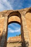 Greek Roman Theater in Taormina - Sicily Italy. Closeup of the ancient Greek Roman theater at sunset in Taormina town, Messina, Sicily island, Italy II century Stock Photography