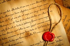 Closeup of ancient letter with wax seal Stock Photo