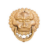 Closeup ancient lion head isolated Stock Images