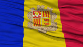 Closeup Andorra Flag. Waving in the Wind, High Resolution stock illustration