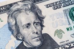 Andrew Jackson portrait in on 20 US dollar bill. Closeup of Andrew Jackson portrait in perspective on 20 US dollar bill stock photography