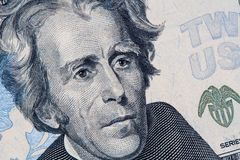 Andrew Jackson portrait on 20 US dollar bill. Closeup of Andrew Jackson portrait on 20 US dollar bill royalty free stock images