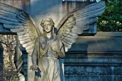 Closeup of angel statue in cemetery Royalty Free Stock Image