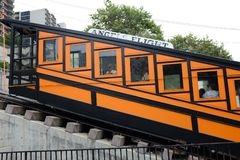 Closeup of Angels Flight,  a landmark 2 ft 6 in narrow gauge funicular railway in the Bunker Hill district of Downtown Los Angeles. LOS ANGELES - CALIFORNIA royalty free stock images