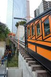 Closeup of Angels Flight, a landmark narrow gauge funicular railway in the Bunker Hill district of Downtown Los Angeles with. LOS ANGELES - CALIFORNIA: JUNE 18 royalty free stock photos