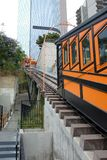 Closeup of Angels Flight, a landmark narrow gauge funicular railway in the Bunker Hill district of Downtown Los Angeles with. LOS ANGELES - CALIFORNIA: JUNE 18 royalty free stock images