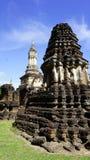 Closeup angled view Historical Pagoda Wat chedi seven rows sukho Stock Image