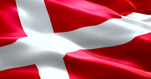 Closeup of animation waving dannebrog denmark flag, with red background and white cross, national symbol of danish