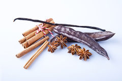 Closeup of anise, cinnamon and vanilla pods Stock Photography