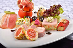 Closeup of antipasto and catering platter with different appeti Stock Images