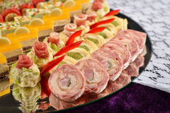Closeup of antipasto and catering platter with different appeti Royalty Free Stock Photos