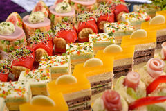 Closeup of antipasto and catering platter with different appeti Stock Photos