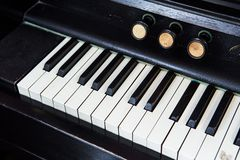 Closeup of antique piano keys Royalty Free Stock Images