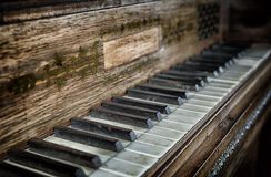 Closeup of antique piano keys Stock Photography