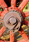 The closeup of antique wagon wheel Royalty Free Stock Photography