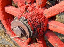 The closeup of antique wagon wheel Royalty Free Stock Image