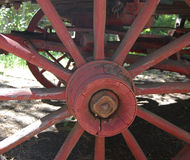 Closeup of Antique Wagon Wheel. View of antique wooden wagon wheel on display in Oregon Royalty Free Stock Photo