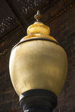 Closeup of antique, yellow glass light, downtown Keene, New Hamp Royalty Free Stock Photography