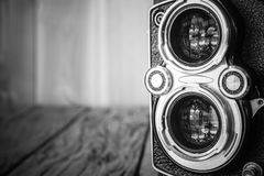 Closeup of apart of old film cameras with free copy space, vinta Stock Image