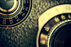 Closeup of apart of old film cameras with free copy space, vinta Stock Photos
