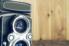 Closeup of apart of old film cameras with free copy space, vinta Royalty Free Stock Photos