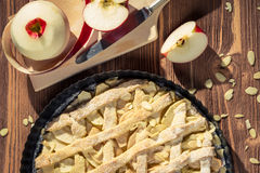 Closeup apple pie with fresh fruits Royalty Free Stock Photo