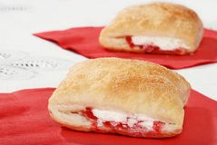 Closeup of apple raspberry pastry Stock Photos