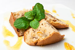 Closeup of an apricot cake Royalty Free Stock Photo