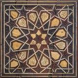 Closeup of arabesque seamless geometric pattern. On an ancient wooden pulpit Minbar, Cairo, Egypt Stock Photo