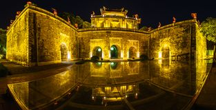 Closeup architecture Central sector of Imperial Citadel of Thang Long,the cultural complex comprising the royal enclosure first bu. Ilt during the Ly Dynasty. An Stock Photos