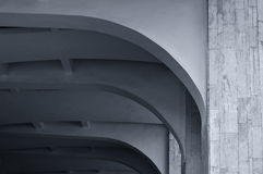 Closeup of architecture details of arched stone ceiling. Architecture urban minimalist background. Black and white processing. Stock Image