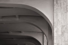 Closeup of architecture elements of arched stone ceiling. Architecture urban minimalist background. Black and white processing. Royalty Free Stock Photos