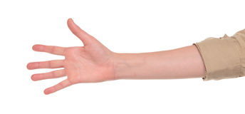 Closeup of arm - hand making number five sign. Closeup isolated studio shot of the front view of a womans outstretched hand in a number five sign Royalty Free Stock Photos