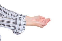 Closeup of arms - cupped hands Royalty Free Stock Photos