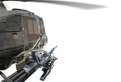 Closeup of army helicopter with machine gun. Royalty Free Stock Image
