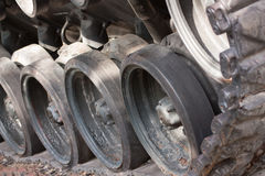 Closeup Of Army Tank Track Wheels Royalty Free Stock Photos