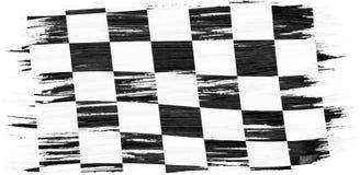 Art brush watercolor painting checkered flag stock illustration