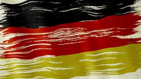 Germany flag. Closeup of art brush watercolor painting Germany flag blown in the wind stock footage