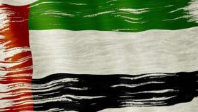 UAE flag. Closeup of art brush watercolor painting UAE flag blown in the wind stock video footage