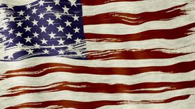 USA flag. Closeup of art brush watercolor painting USA flag blown in the wind stock video