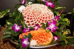 Closeup the art of watermelon carving fruit. Stock Photos