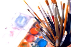 Closeup of artist's watercolor paintbox Royalty Free Stock Photography